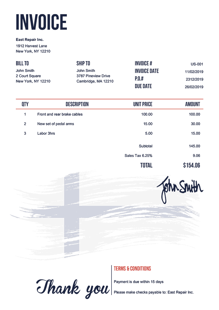 Invoice Template Us Flag Of Finland