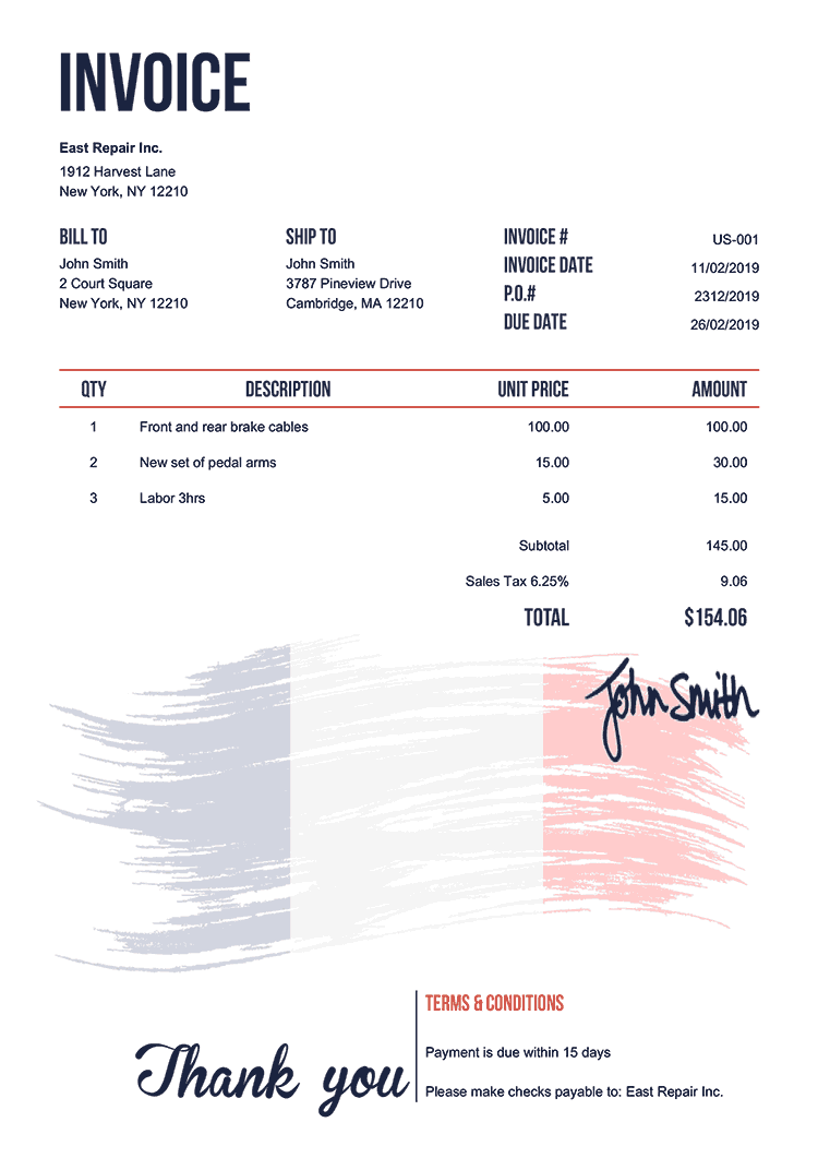 Invoice Template Us Flag Of France