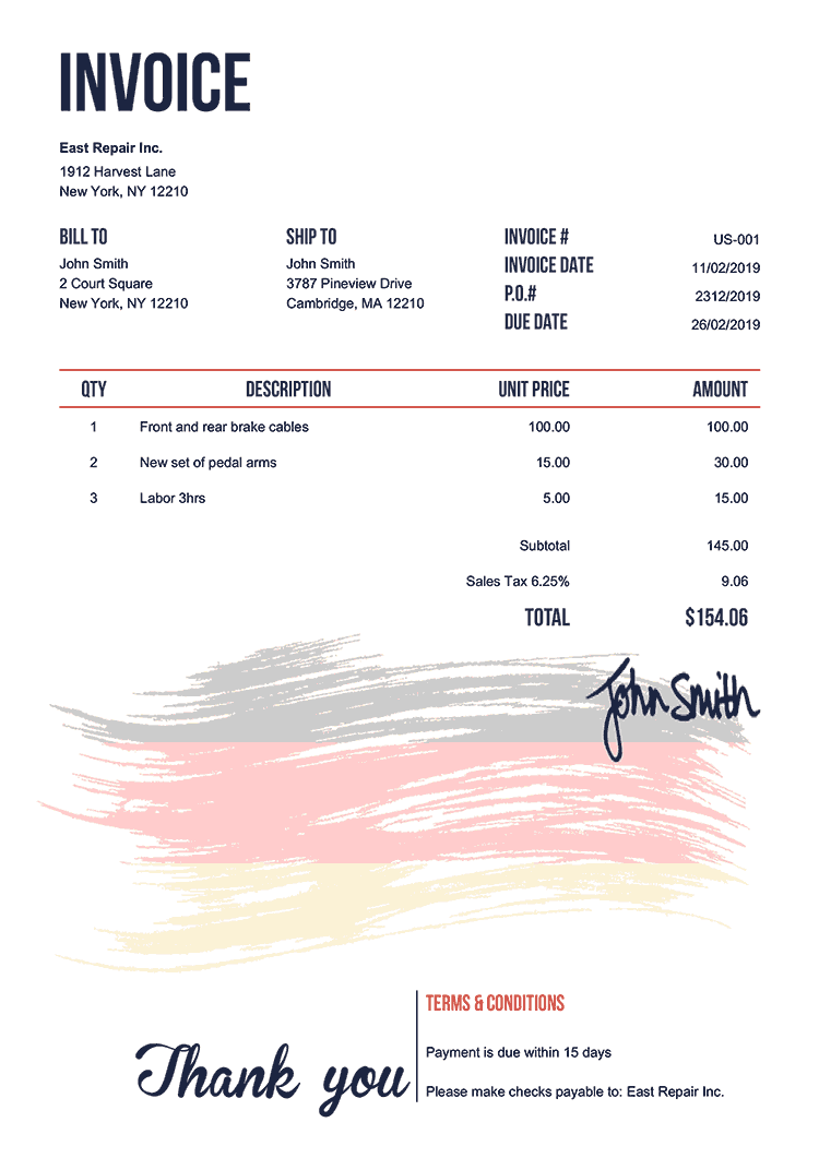 Invoice Template Us Flag Of Germany