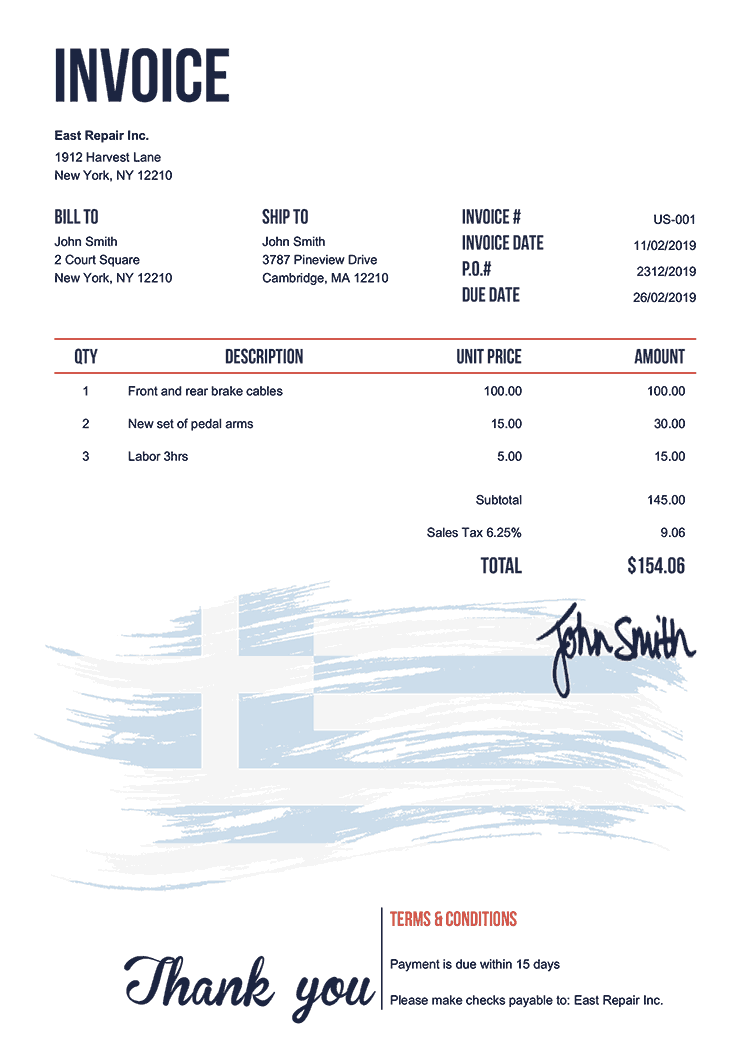 Invoice Template Us Flag Of Greece