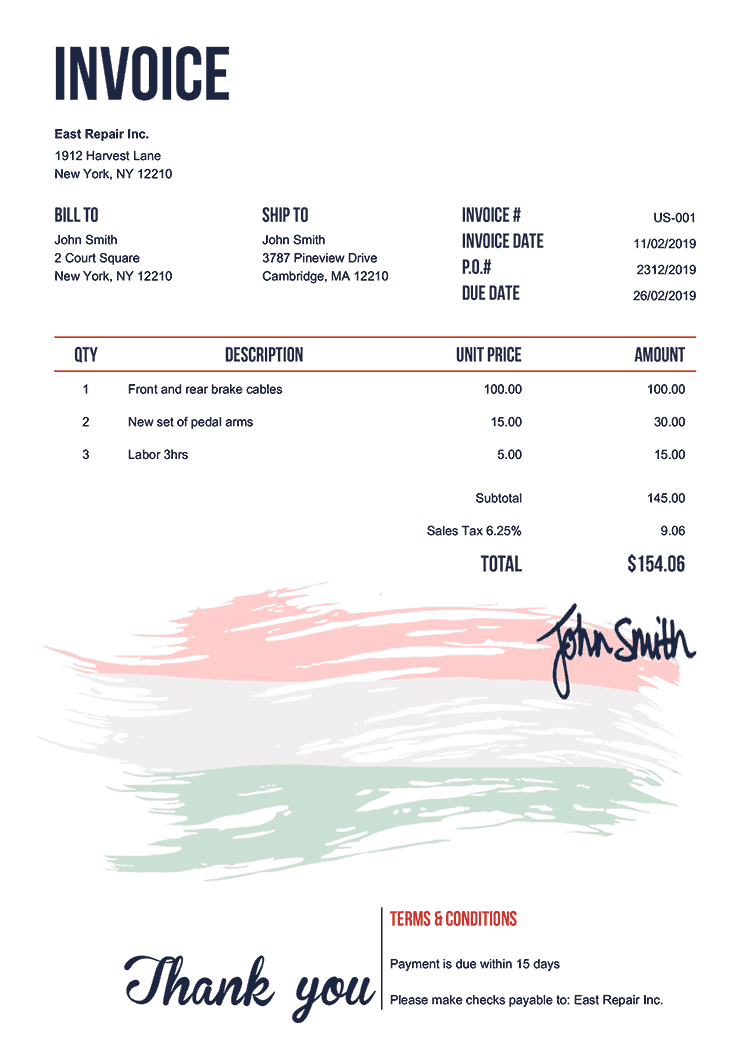Invoice Template Us Flag Of Hungary