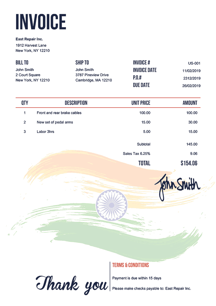 Invoice Template Us Flag Of India