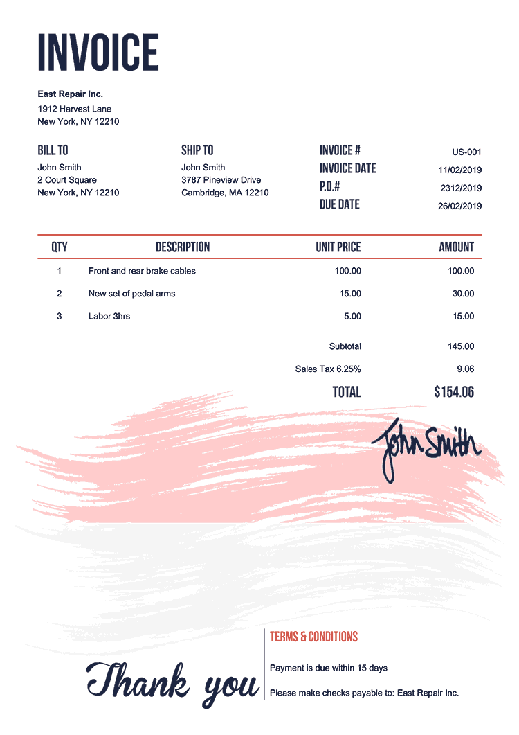 Invoice Template Us Flag Of Indonesia
