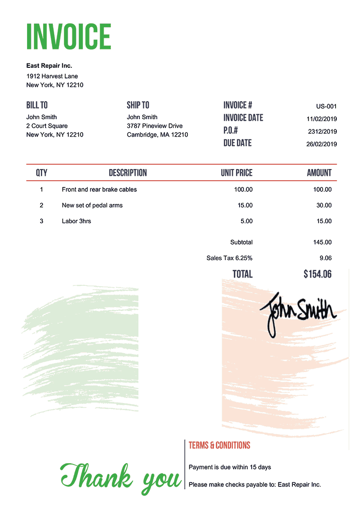 Invoice Template Us Flag Of Ireland