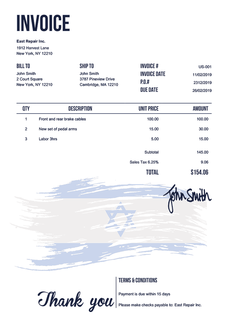 Invoice Template Us Flag Of Israel