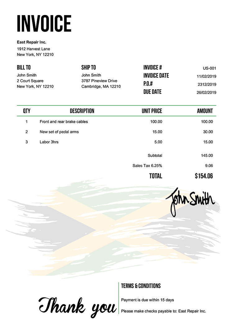 Invoice Template Us Flag Of Jamaica