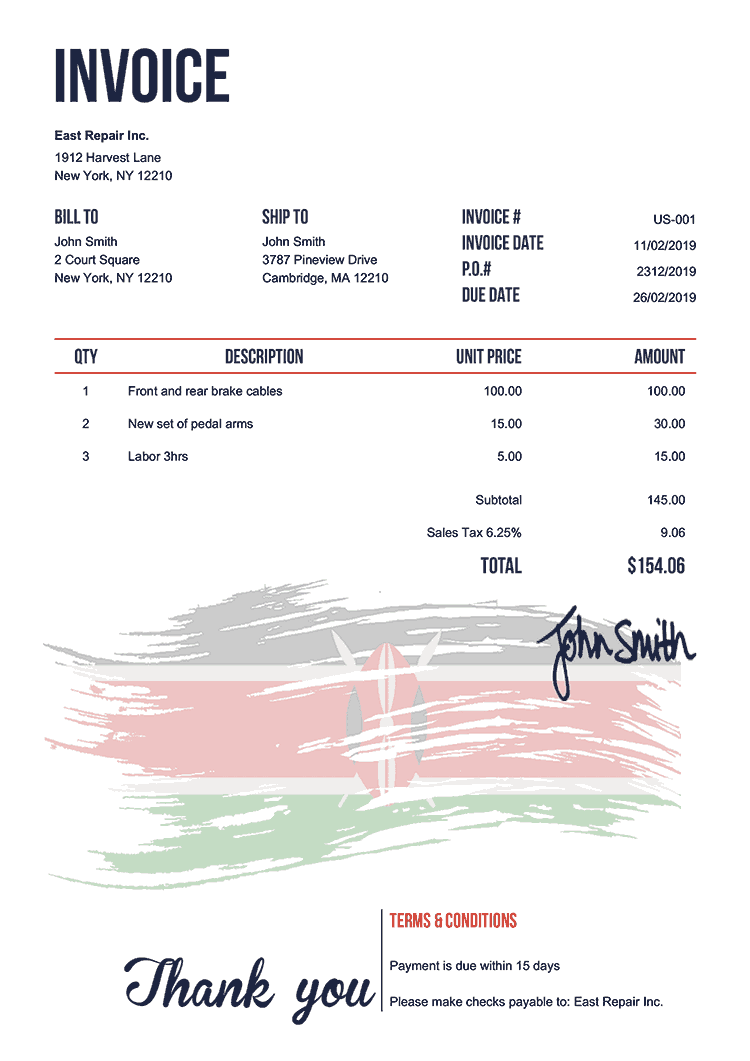 Invoice Template Us Flag Of Kenya