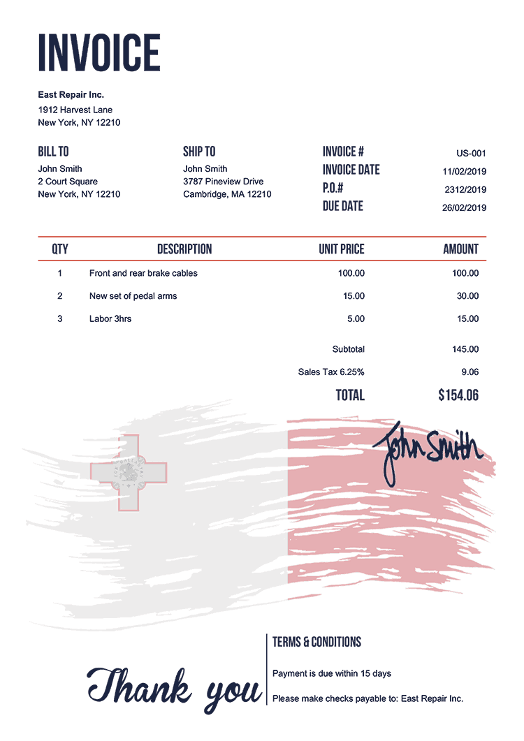 Invoice Template Us Flag Of Malta