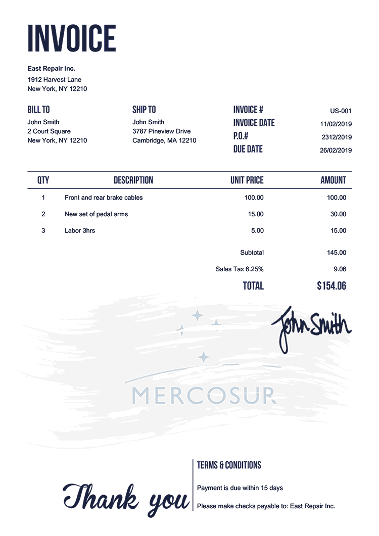 Invoice Template Us Flag Of Mercosur