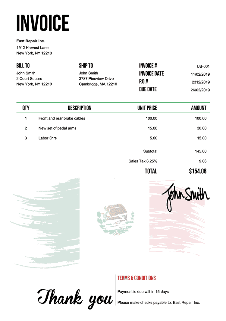Invoice Template Us Flag Of Mexico