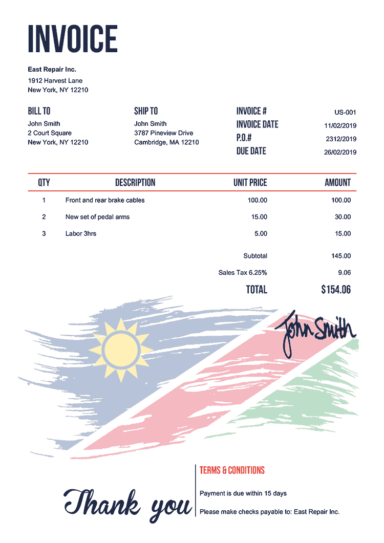 Invoice Template Us Flag Of Namibia