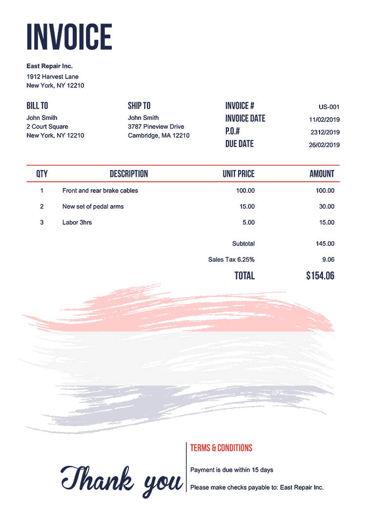 Invoice Template Us Flag Of Netherland