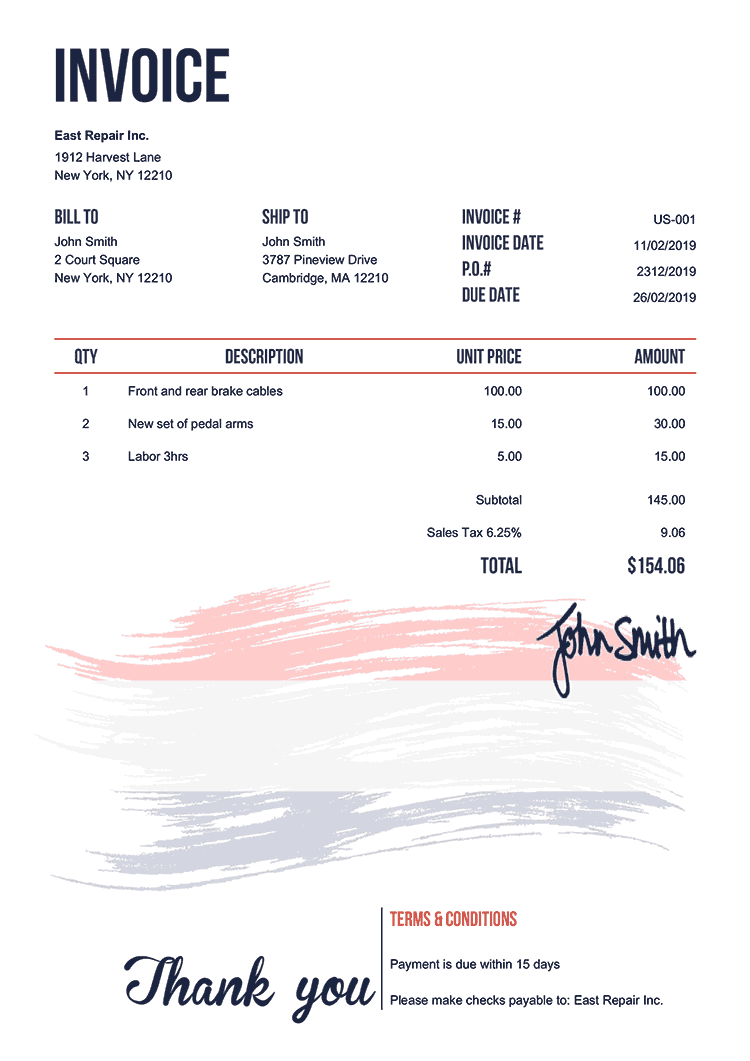Invoice Template Us Flag Of Netherlands