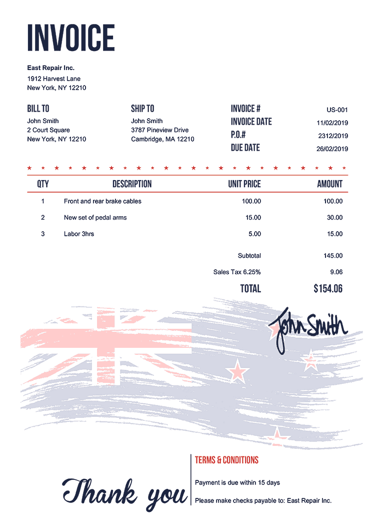 Invoice Template Us Flag Of New Zealand