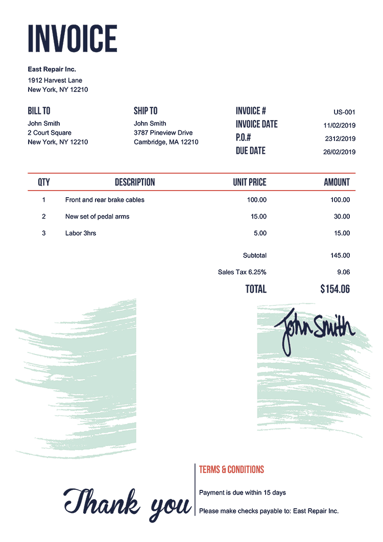 Invoice Template Us Flag Of Nigeria