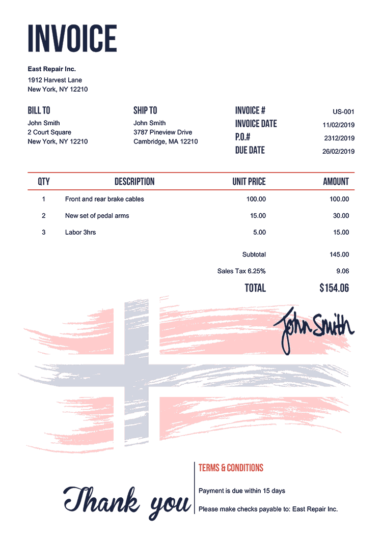 Invoice Template Us Flag Of Norway