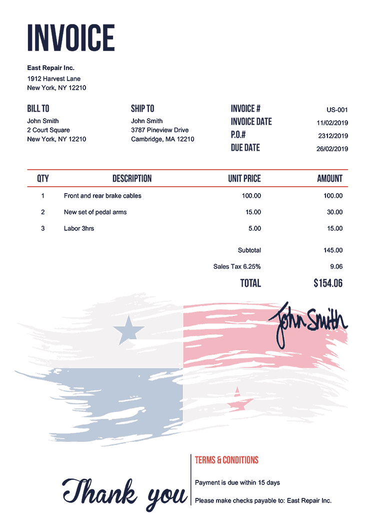 Invoice Template Us Flag Of Panama