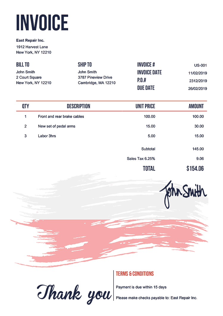 Invoice Template Us Flag Of Poland