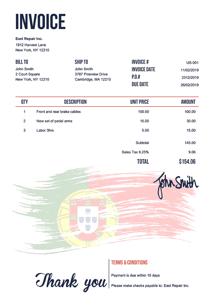 Invoice Template Us Flag Of Portugal