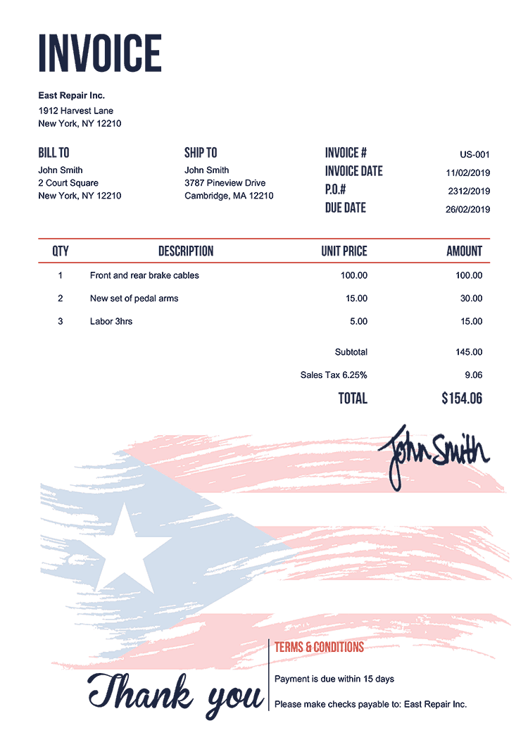 Invoice Template Us Flag Of Puerto Rico