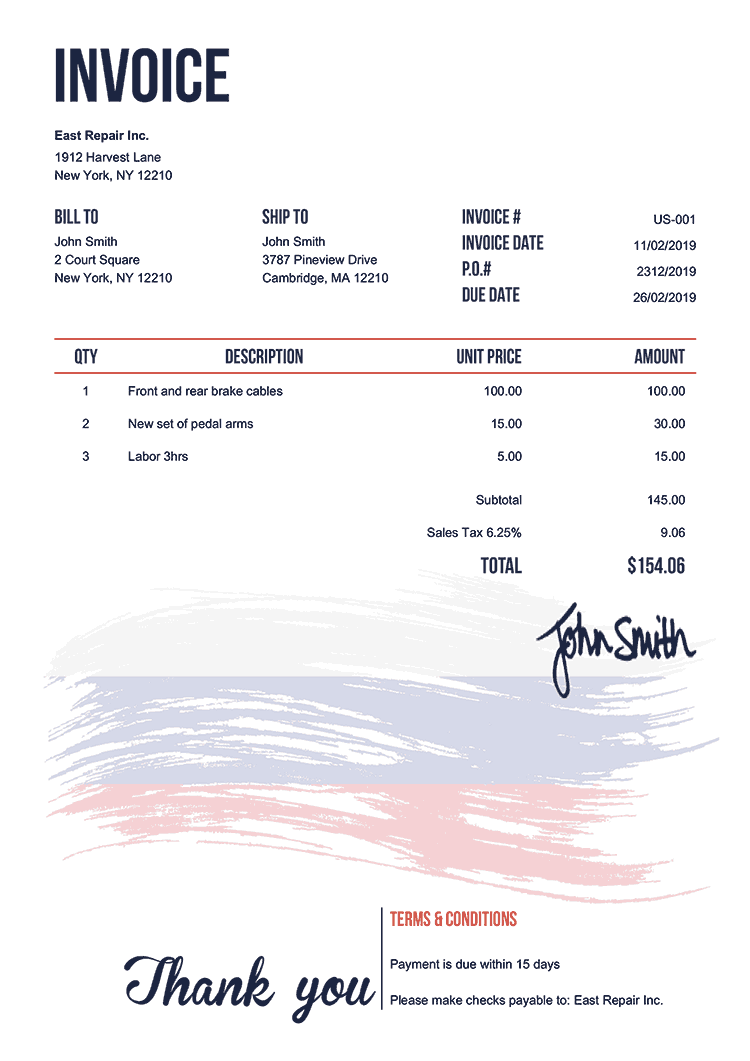 Invoice Template Us Flag Of Russia