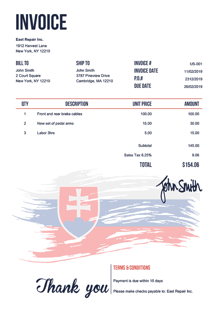Invoice Template Us Flag Of Slovakia