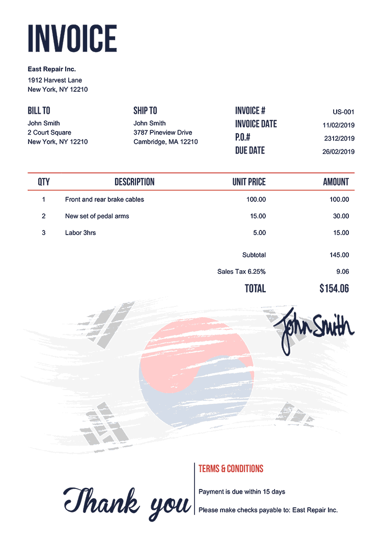 Invoice Template Us Flag Of South Korea