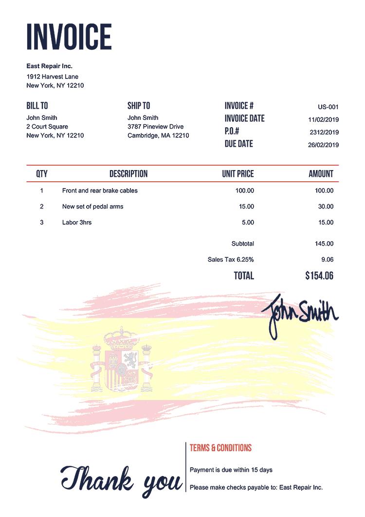 Invoice Template Us Flag Of Spain