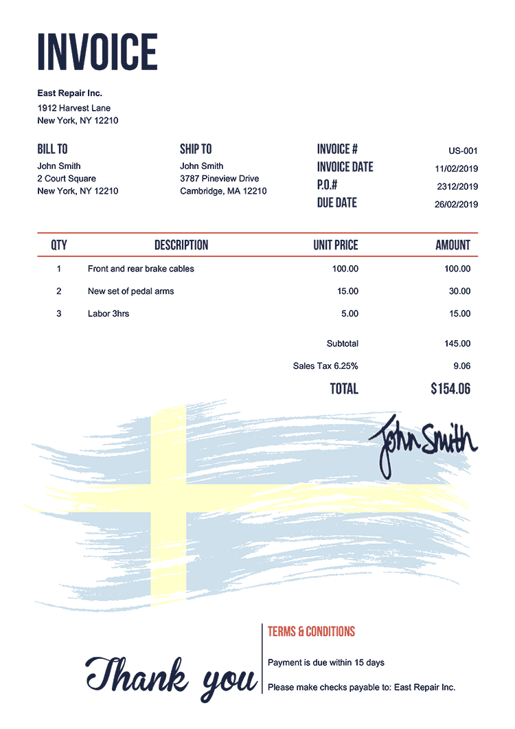 Invoice Template Us Flag Of Sweden
