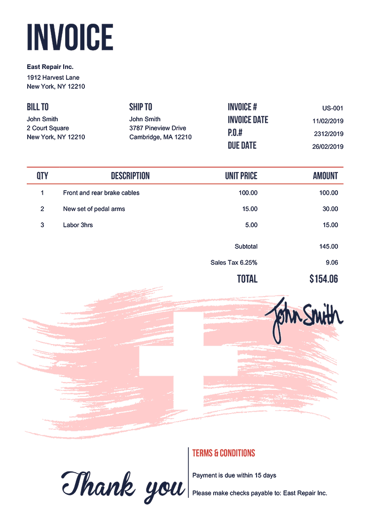 Invoice Template Us Flag Of Switzerland