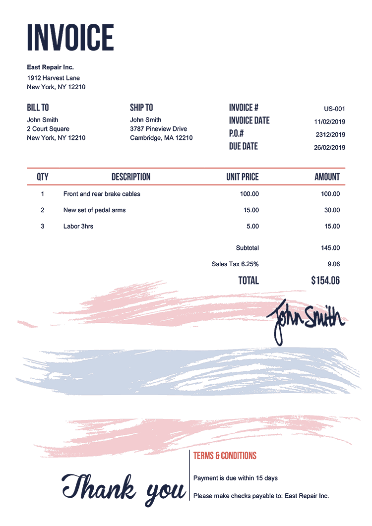 Invoice Template Us Flag Of Thailand
