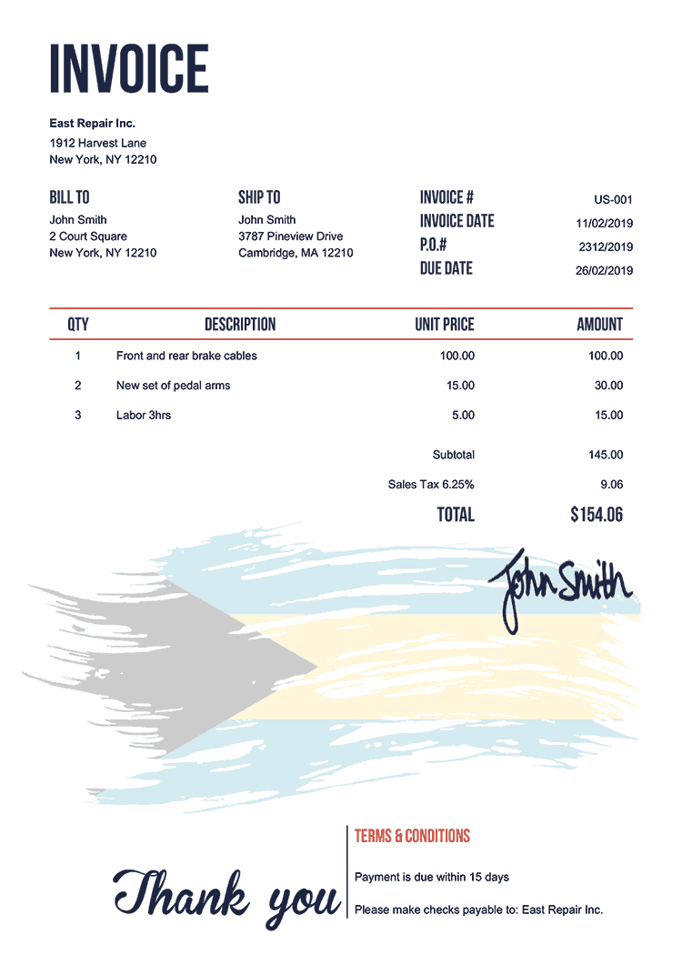 Invoice Template Us Flag Of The Bahamas
