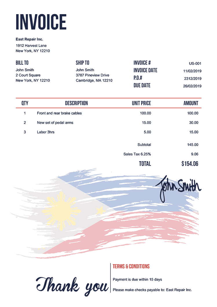Invoice Template Us Flag Of The Philippines