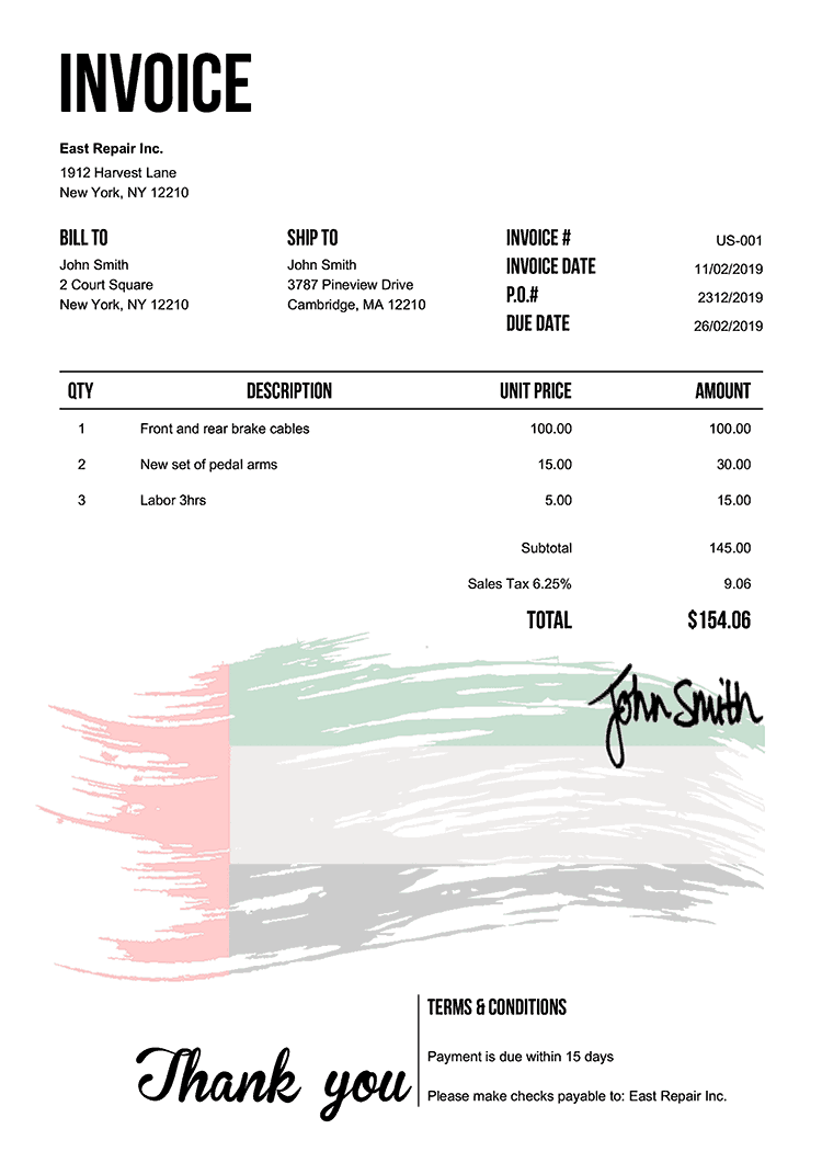 Invoice Template Us Flag Of The Uae