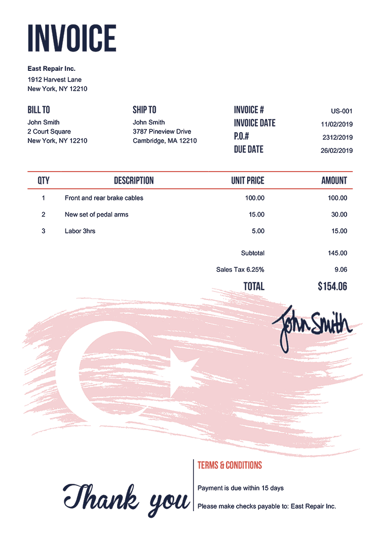 Invoice Template Us Flag Of Turkey