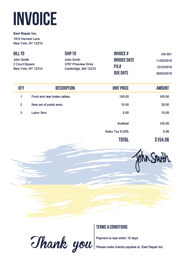 Invoice Template Us Flag Of Ukraine