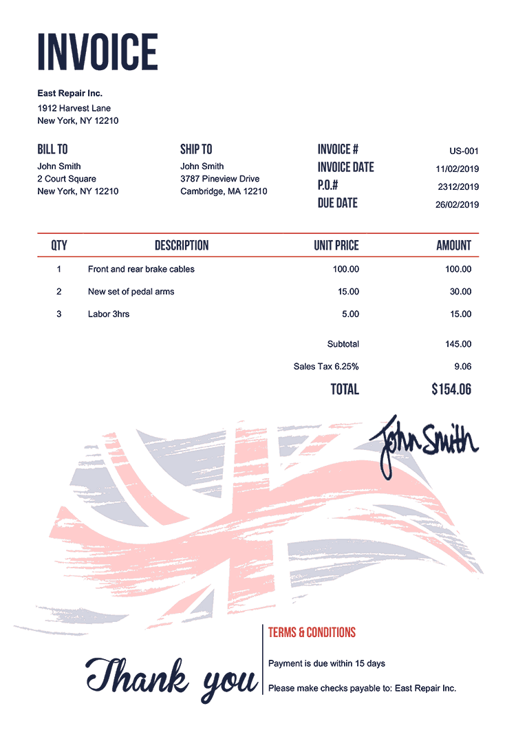 Invoice Template Us Flag Of United Kingdom