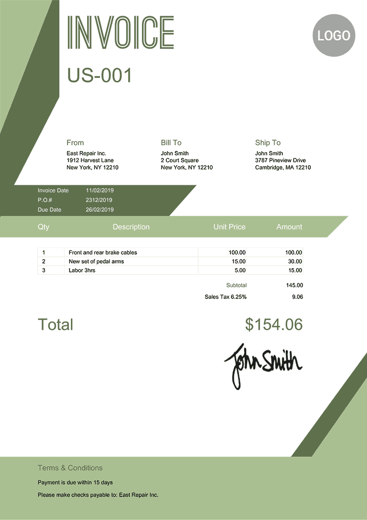 Invoice Template Us Forest