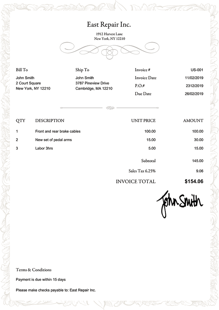Invoice Template Us Frame