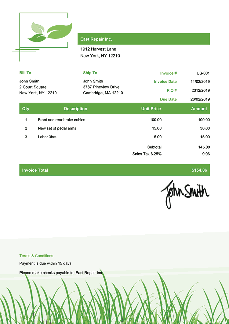 Invoice Template Us Green Grass