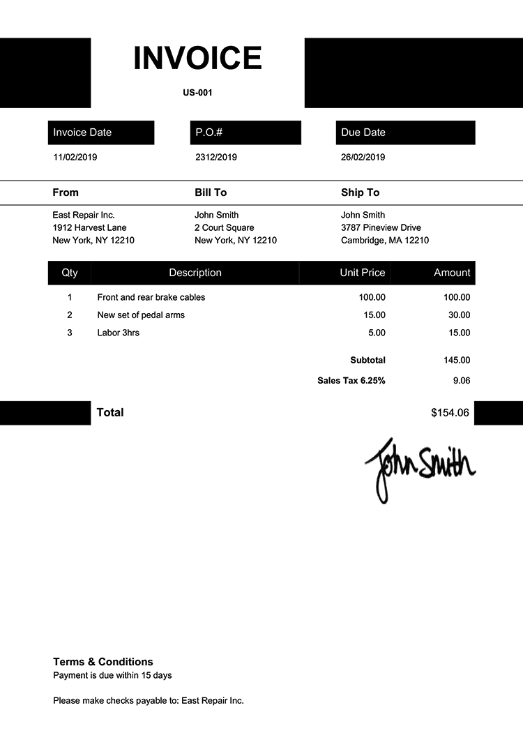Invoice Template Us Impact Black