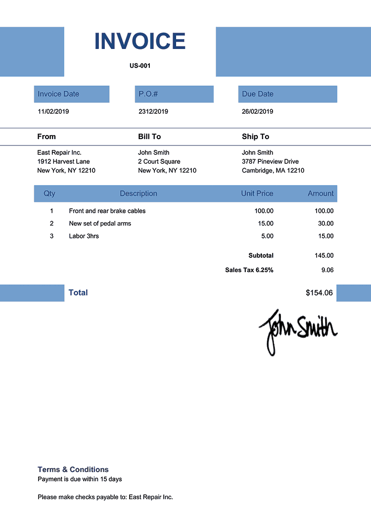 Invoice Template Us Impact Blue