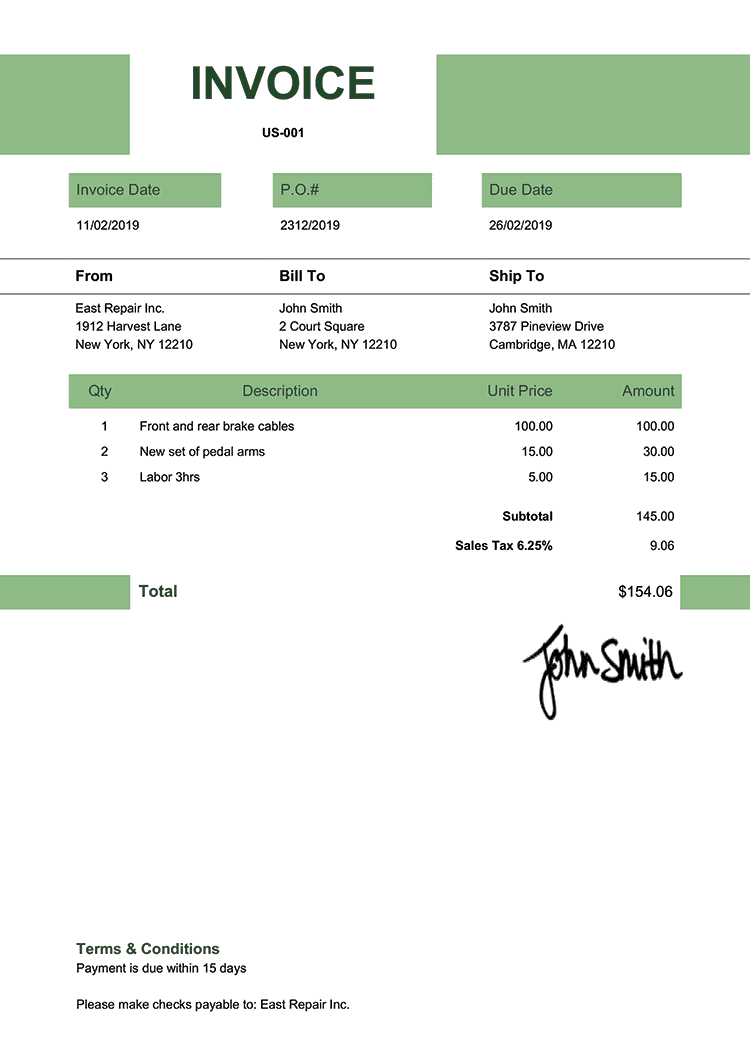 Invoice Template Us Impact Green