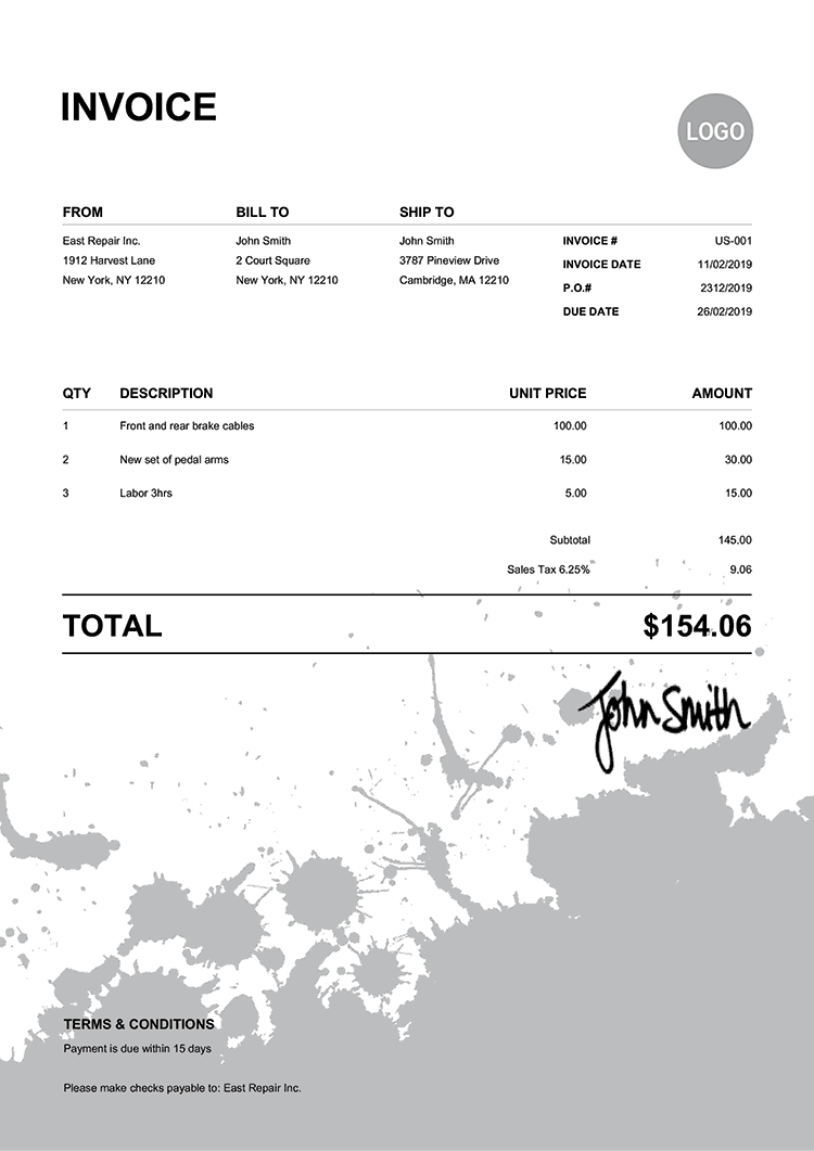 Invoice Template Us Ink Blot Black
