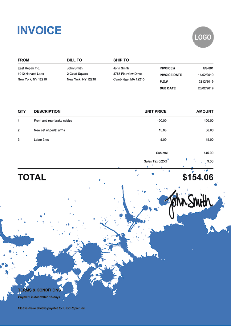 Invoice Template Us Ink Blot Blue