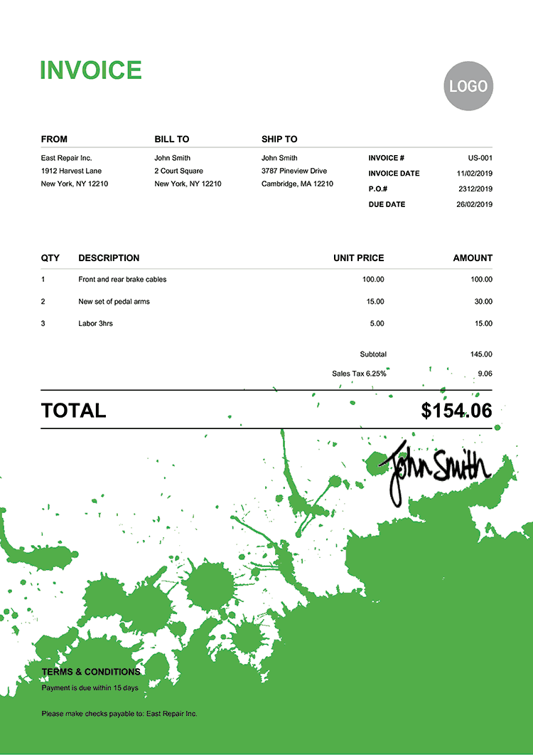Invoice Template Us Ink Blot Green