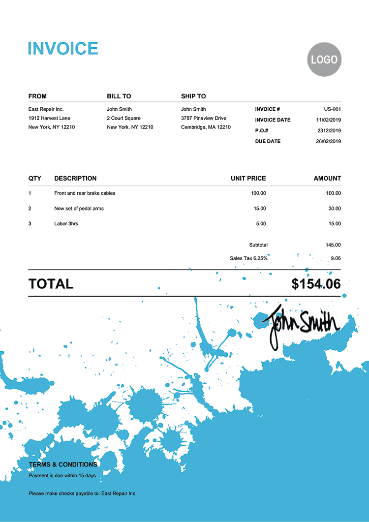 Invoice Template Us Ink Blot Light Blue
