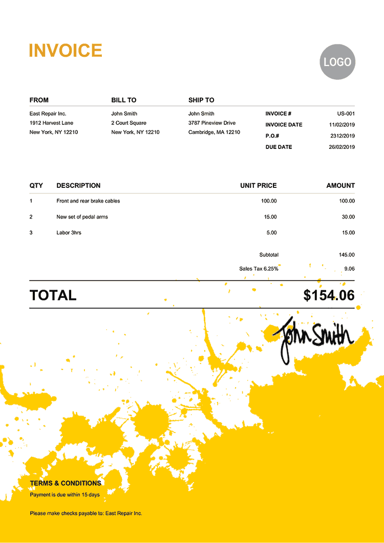 Invoice Template Us Ink Blot Yellow