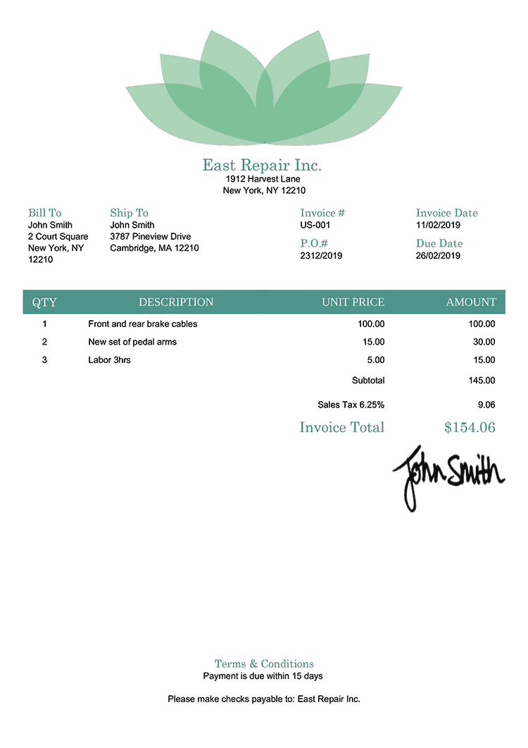 Invoice Template Us Lotus Green