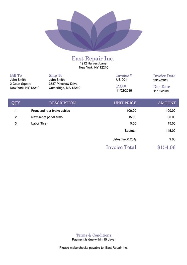 Invoice Template Us Lotus Purple No Logo